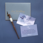 Mild dusty blue watercolor wedding invitations cheap beach summer wedding WS259