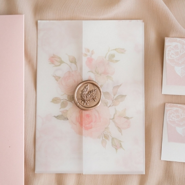 Blush elegant minimalist wedding invite, vellum wedding invite wrap, fold wedding invite, summer and spring, fall WS261