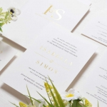 Minimalist white and gold elegant wedding invitations, foil wedding invitations WS263