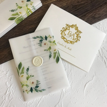 Elegant rustic green and white wedding invitations, vellum wedding invitations, floral wedding invitations WS264