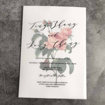 Modern simple rustic floral and vellum wedding invitations, minimalist wedding invitations WS265