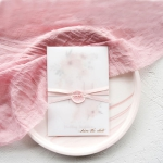 Gentle sweet blush and dusty blue gray watercolor vellum wedding invitations WS266