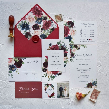 Burgundy and blush watercolor floral wedding invitations with rsvp cards WS269