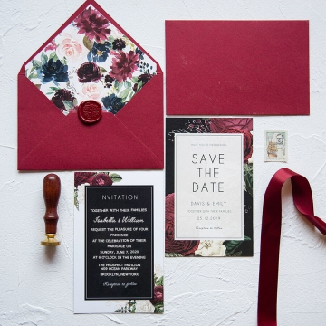 Romantic burgundy and black wedding invitation, fall and winter wedding invite WS270