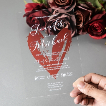 Romantic orange watercolor heart shape acrylic wedding invitation with vellum wrap, clear wedding invitations WS273
