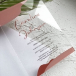 Simple elegant rust clear acrylic wedding invitations, custom wedding invitations WS275