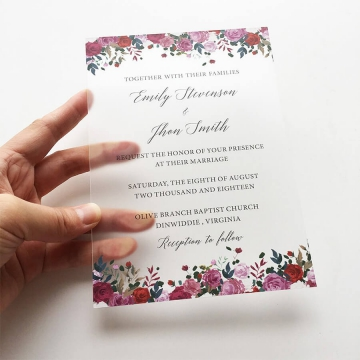Purple florals simple rustic acrylic wedding invitations WS276