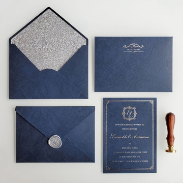 Formal royal navy blue and gold foil wedding invitations WS281