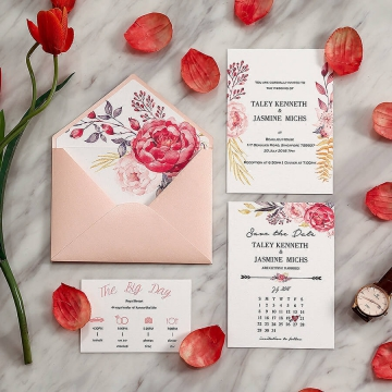 Romantic blush flower watercolor rustic wedding invitations WS282