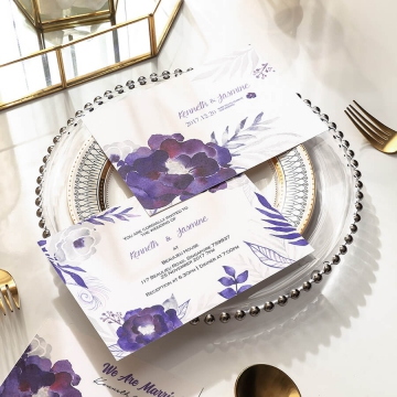 Purple watercolor romantic and rustic wedding invitations, simple invites WS283