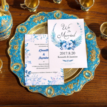 Double print blue watercolor wedding invitations, rustic wedding invites WS284