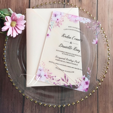 Purple floral acrylic wedding invitations rustic spring summer fall WS286