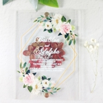 Chic unique geometric acrylic wedding invitations with real flowers WS289