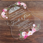Irregular clear acrylic wedding invitations with pink flowers WS290