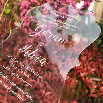 Unique irregular acrylic wedding invitations with custom design WS293