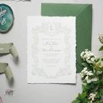 Simple chic deckled-edge wedding invitations, minimal wedding invites WS294