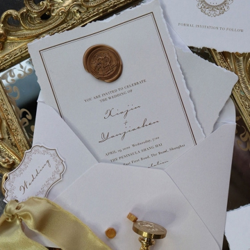 Vintage deckle edge wedding invitations with wax seals WS295