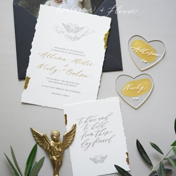 Minimalist deckle edge wedding invitation with foil WS296
