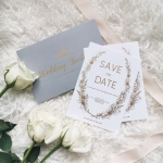 Rustic gold foil save the date card STD019