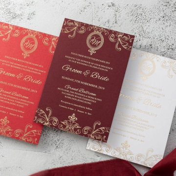 Romantic retro vintage burgundy and gold foil flat wedding invitation WS298