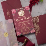 Romantic pink floral and foil wedding invitation WS299
