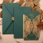 Vintage retro emerald green and gold laser cut wedding invitation WS300