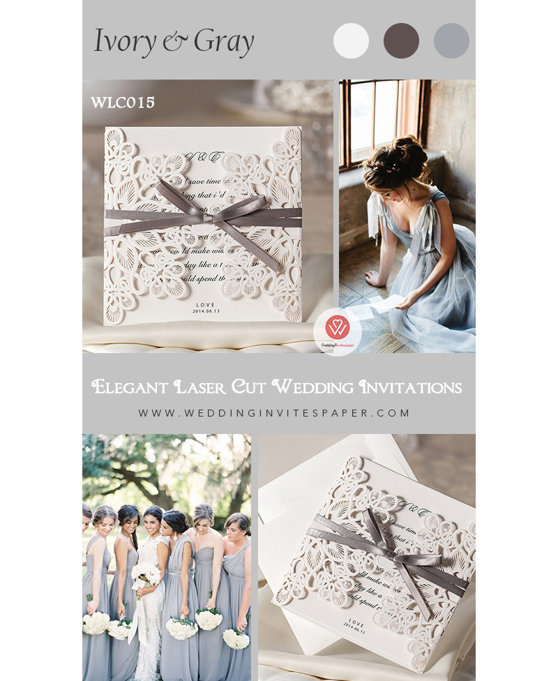 wlc015 Planning an elegant spring or fall wedding Try this ivory laser cut wedding invitation with gray ribbon, custom wedding stationery..jpg