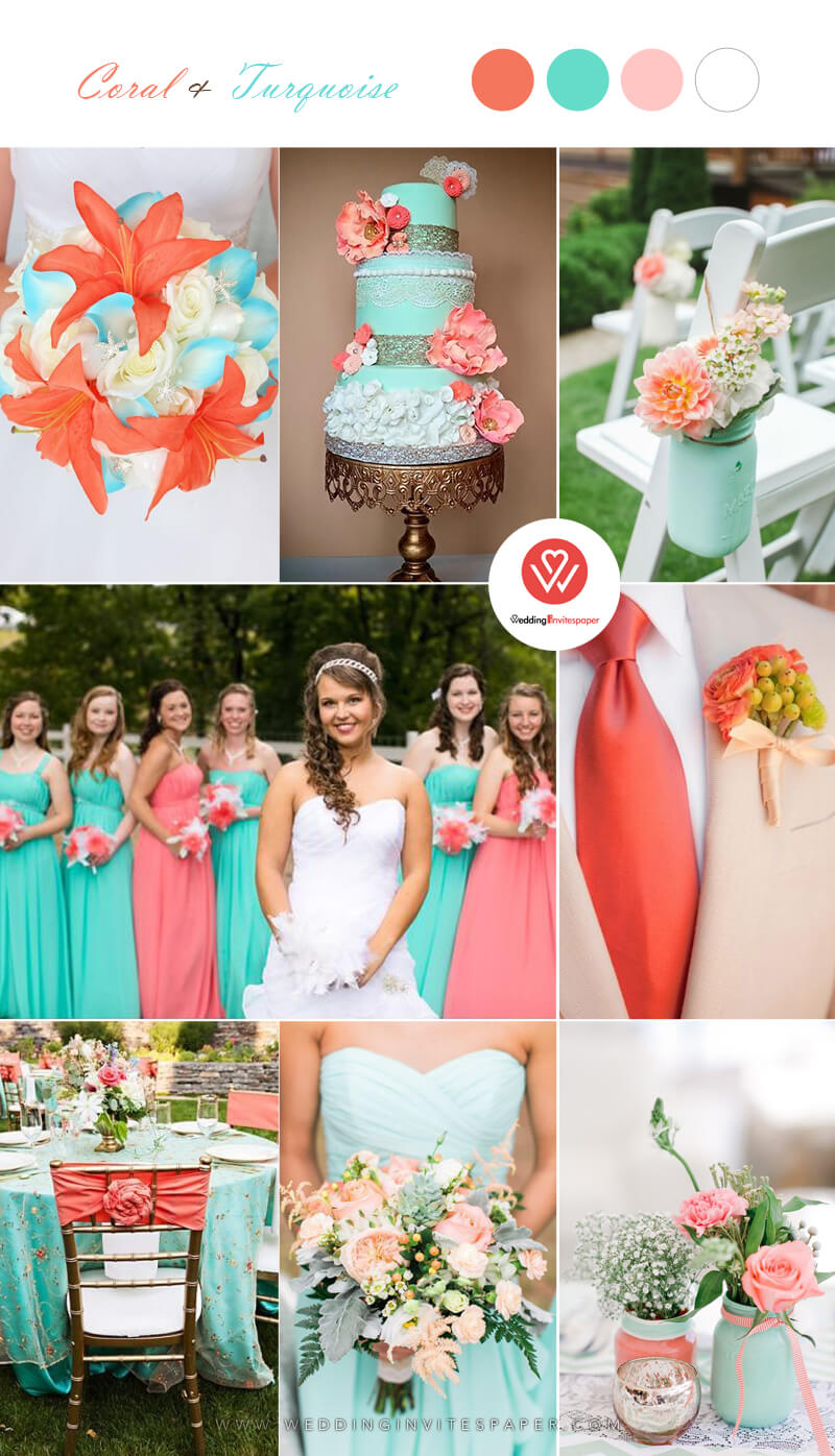 3-Top 9 Elegant Spring & Summer Wedding Color Palettes for 2019---coral and turquoise color palettes, wedding cakes, bridal bouquets, wedding centerpieces, wedding flowers, wedding decorations.jpg