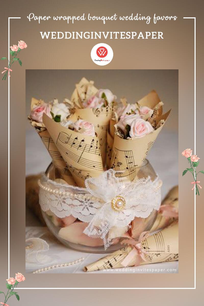 24 Paper wrapped bouquet wedding favors.jpg