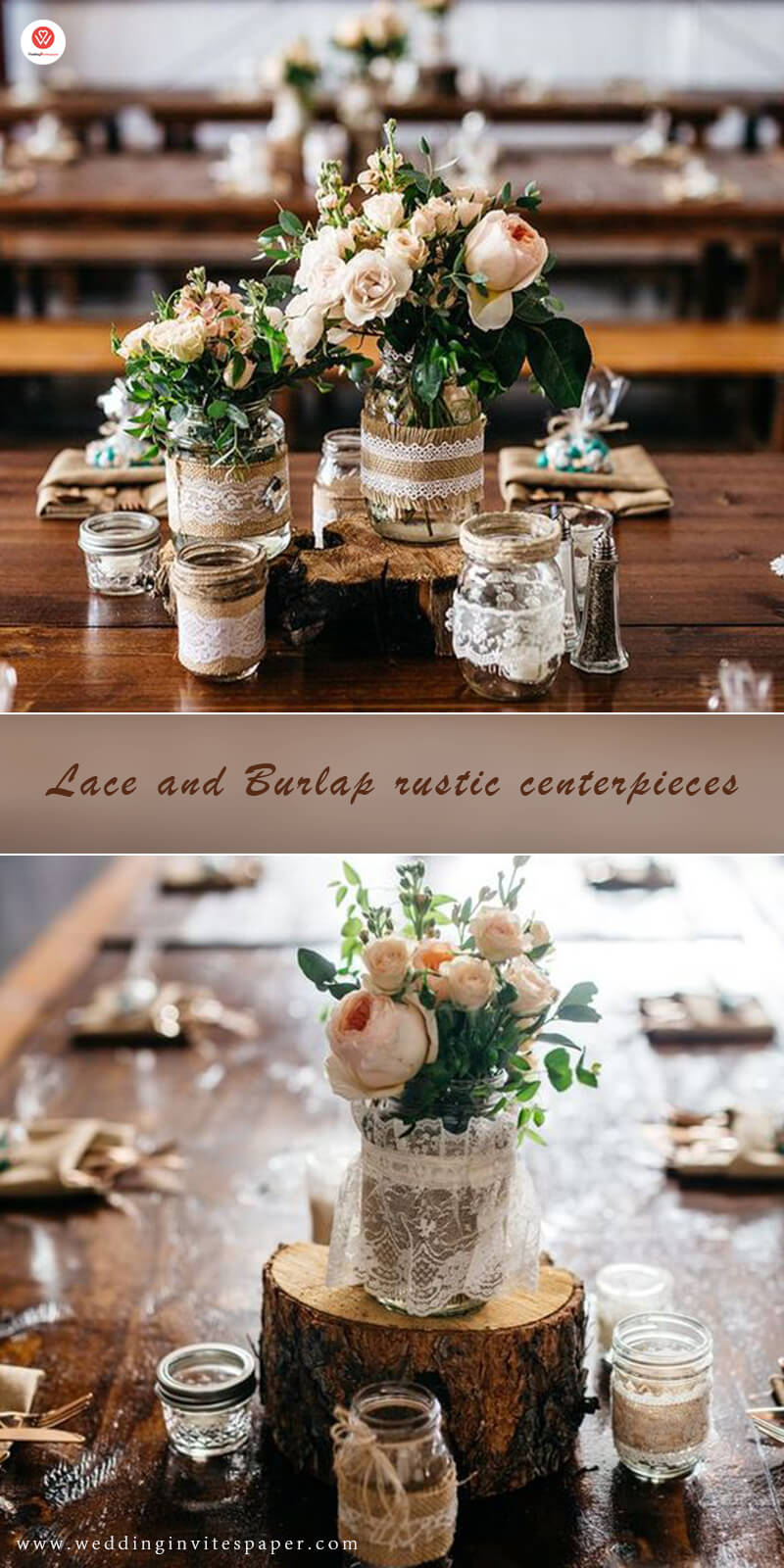 2 Lace and Burlap rustic centerpieces.jpg