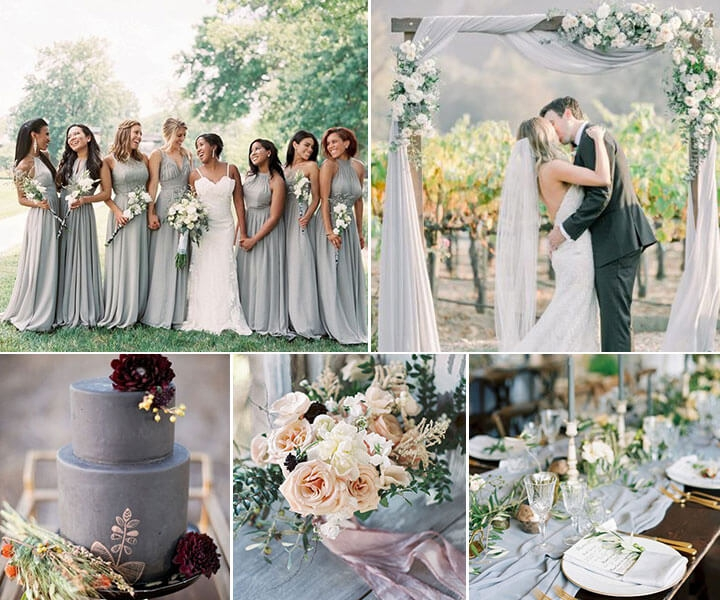 7 Stunning Fall & Winter Wedding Color Combos with Gray