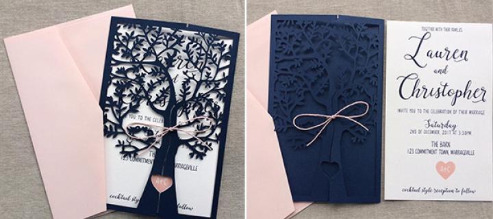 Affordable Laser Cut Wedding Invitations: Elegant Navy Blue Cheap Laser Cut Winter Wedding